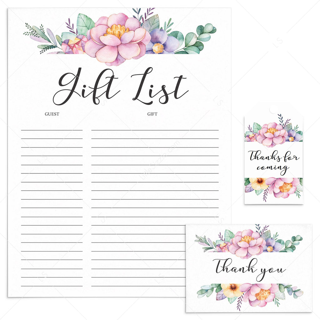 Printable thank you cards, gift list and favor tags with purple flowers by LittleSizzle