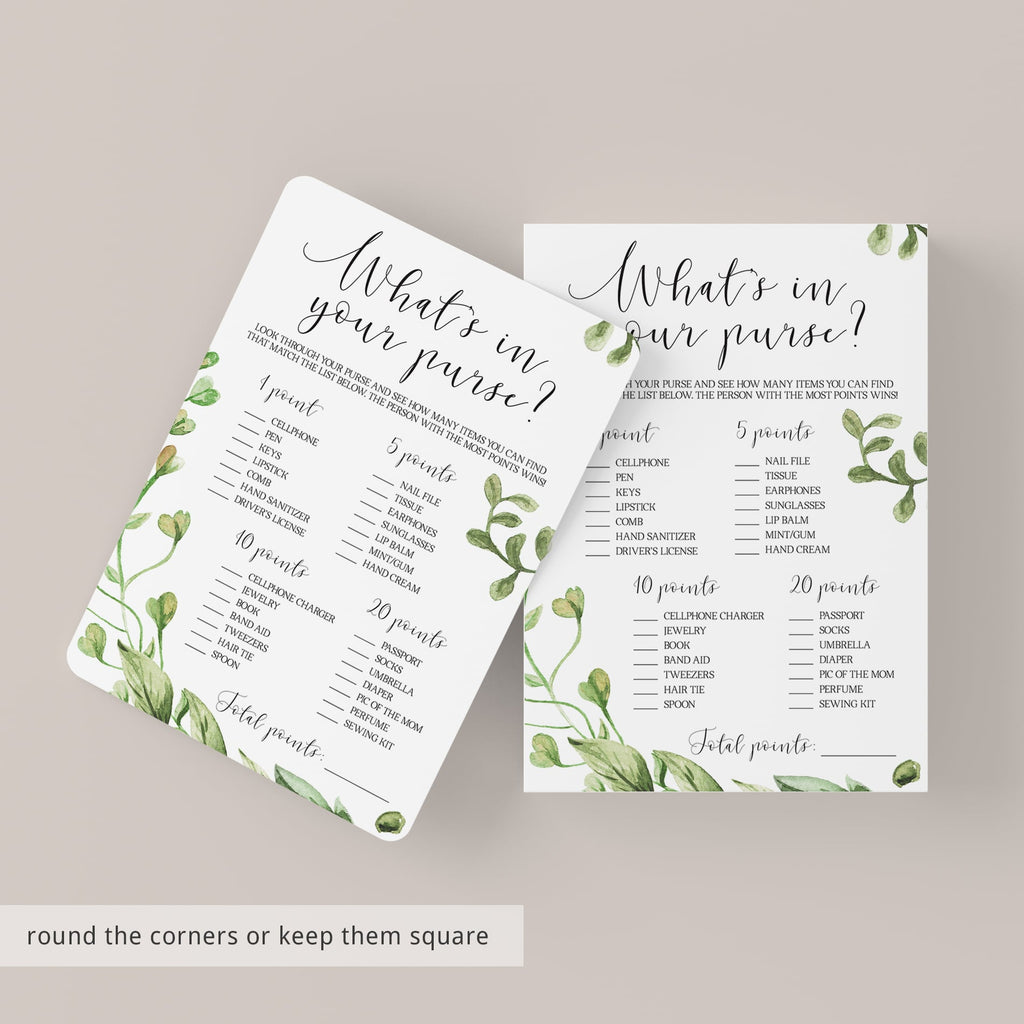Botanical leaves baby shower game whats in your purse download by LittleSizzle