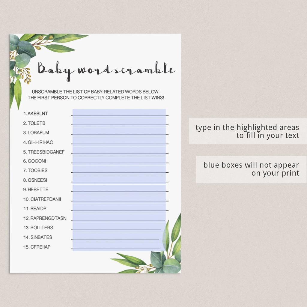 Greenery Baby Shower Scrambled Word Game Virtual & Printable