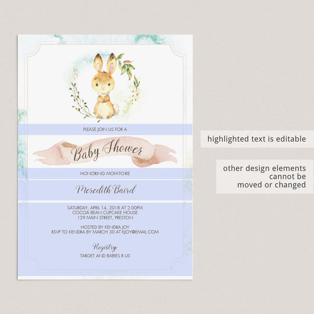 Editable new baby bunny invitation by LittleSizzle