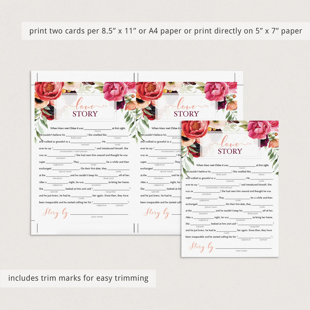 Burgundy Wedding Mad Libs for Bridal Shower Games