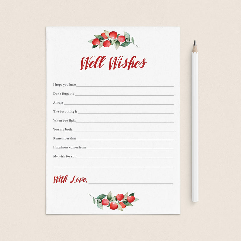 Bridal Shower Well Wishes WW1 DIY Printable Card Instant Download Wedding Well Wishes Print Ready 5x3.5 Advice /& Well Wishes Card