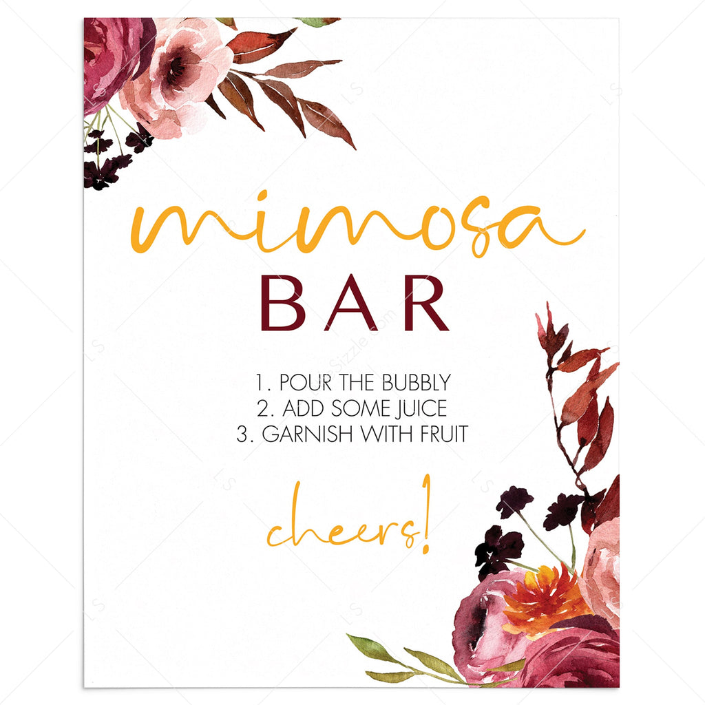 Burgundy flowers mimosa bar table sign printable by LittleSizzle