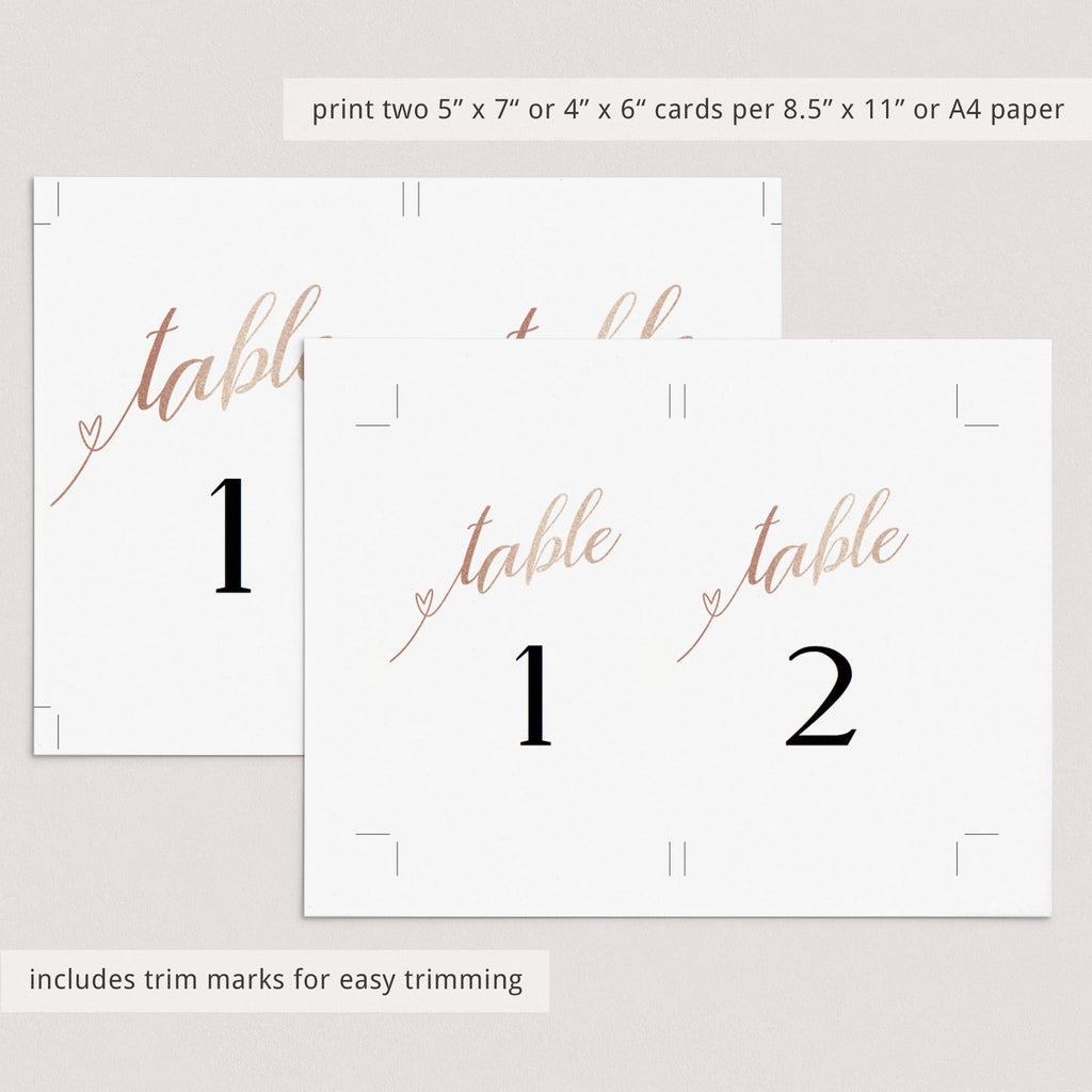 Rose gold bridal shower table numbers printable by LittleSizzle