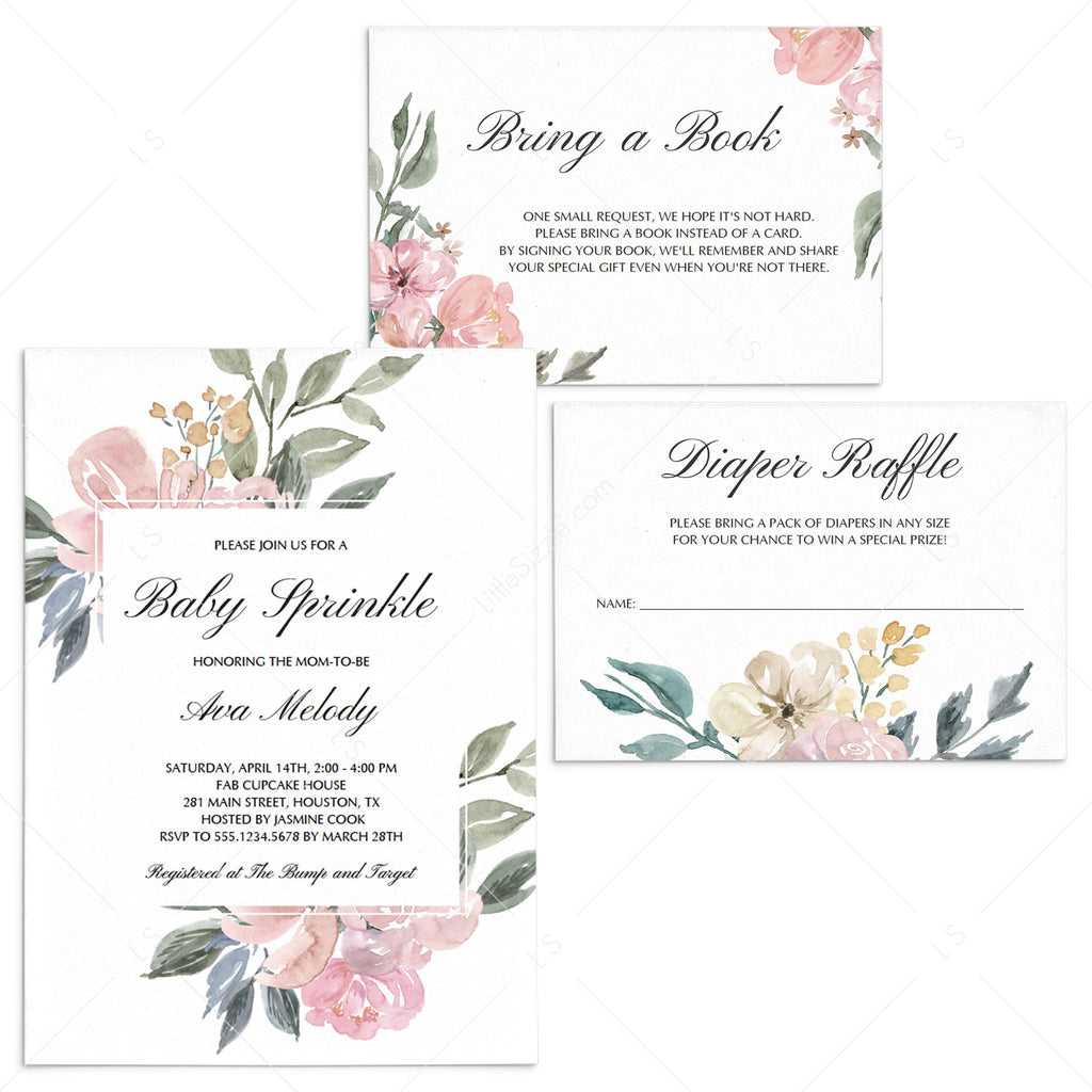 Whimsical Baby Sprinkle Invitation Suite Templates by LittleSizzle