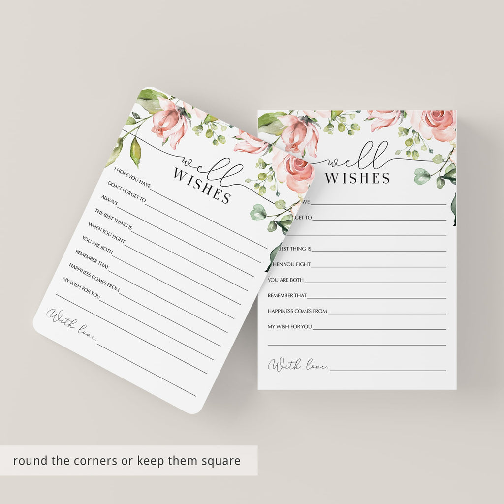 Printable Well Wishes Cards with Blush Roses