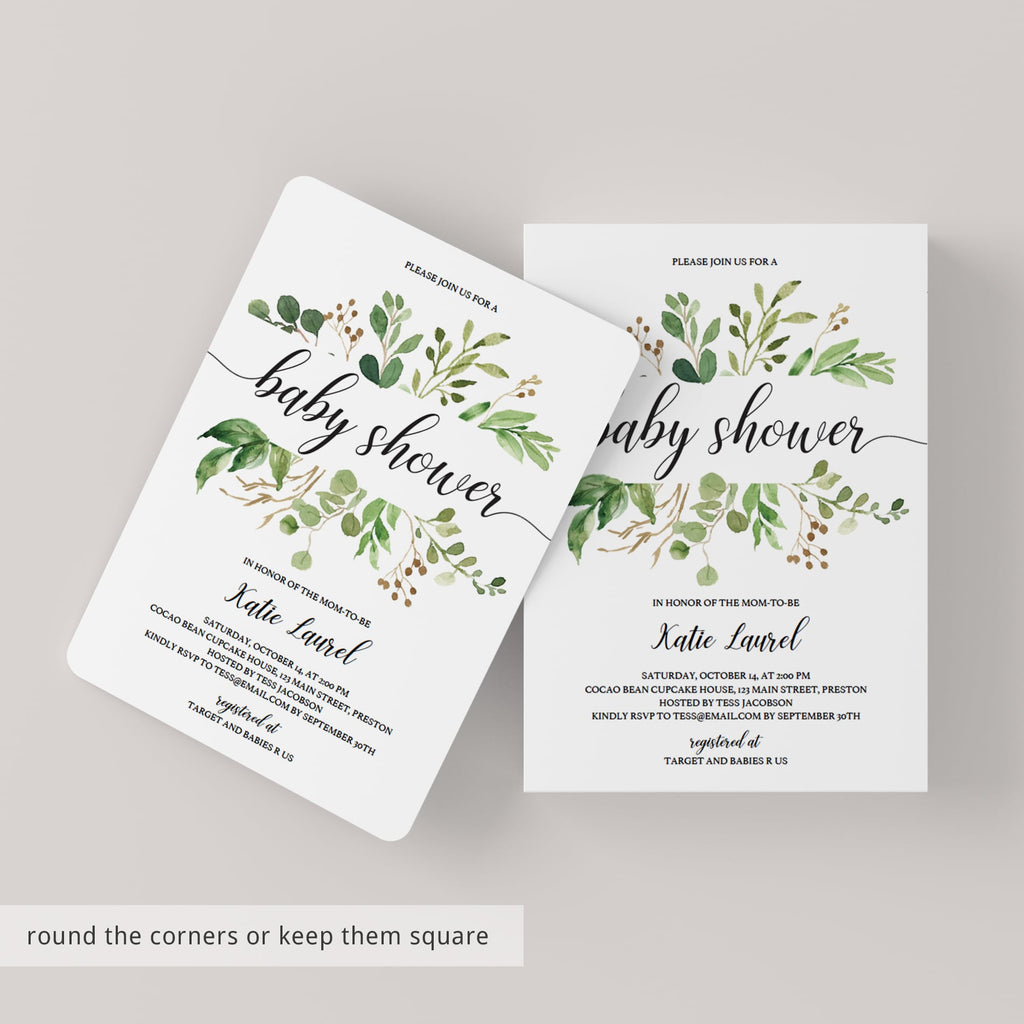 Green and white baby shower invitation evite template by LittleSizzle