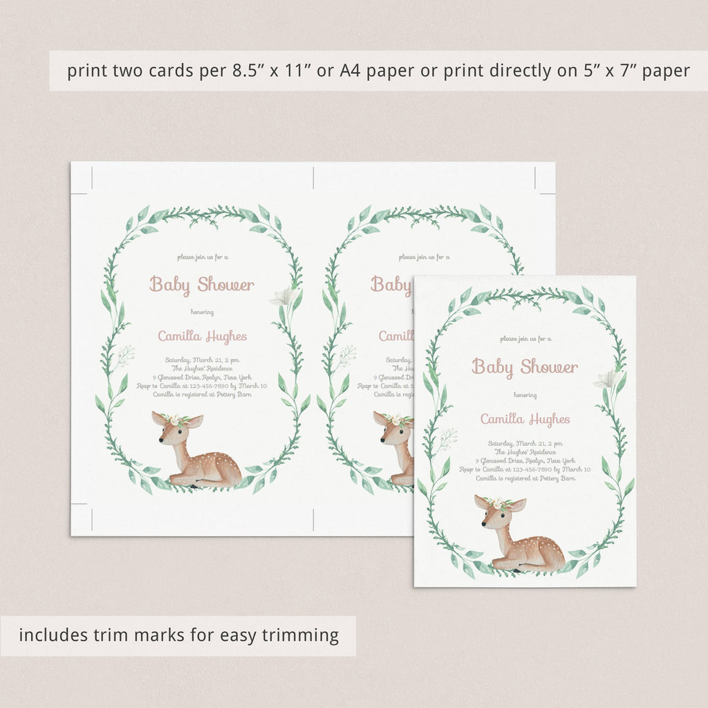 Forest animal baby shower invite template download by LittleSizzle