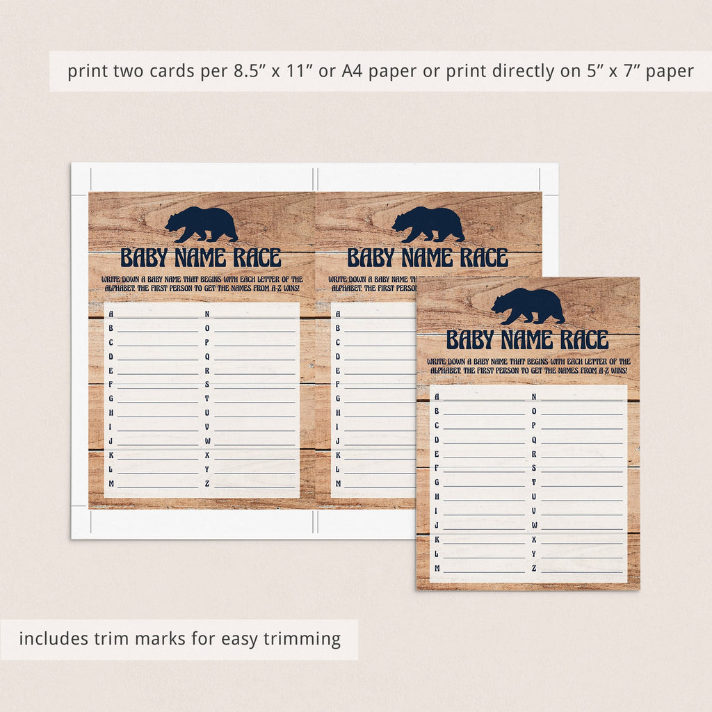 Little Cub Baby Shower Name Race Game Printable