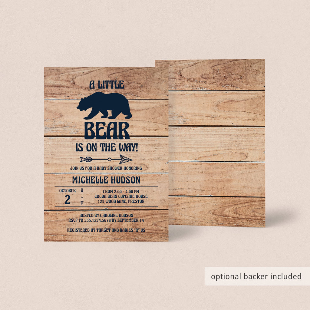 Rustic baby shower invitation with backer by LittleSizzle