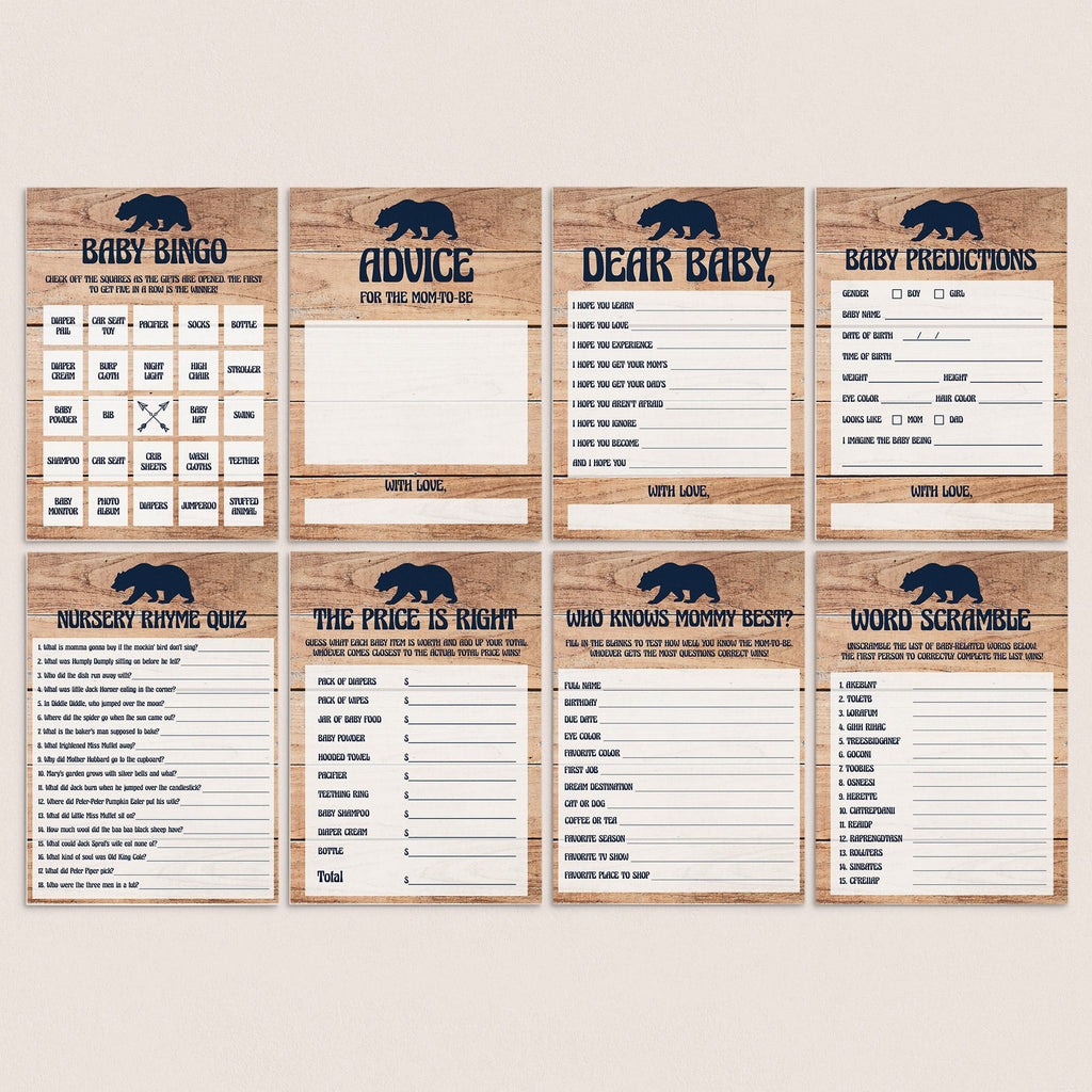Rustic Baby Shower Keepsakes Printable Baby Bear Baby Boy Shower Games Pack BBL Woodland Animals Theme Baby Shower Games Instant Download