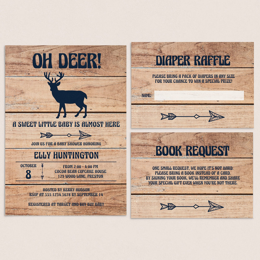 Woodland baby shower invitation templates by LittleSizzle
