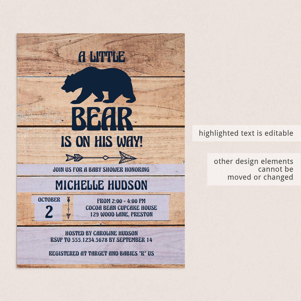 Editable woodland baby shower invitation template by LittleSizzle