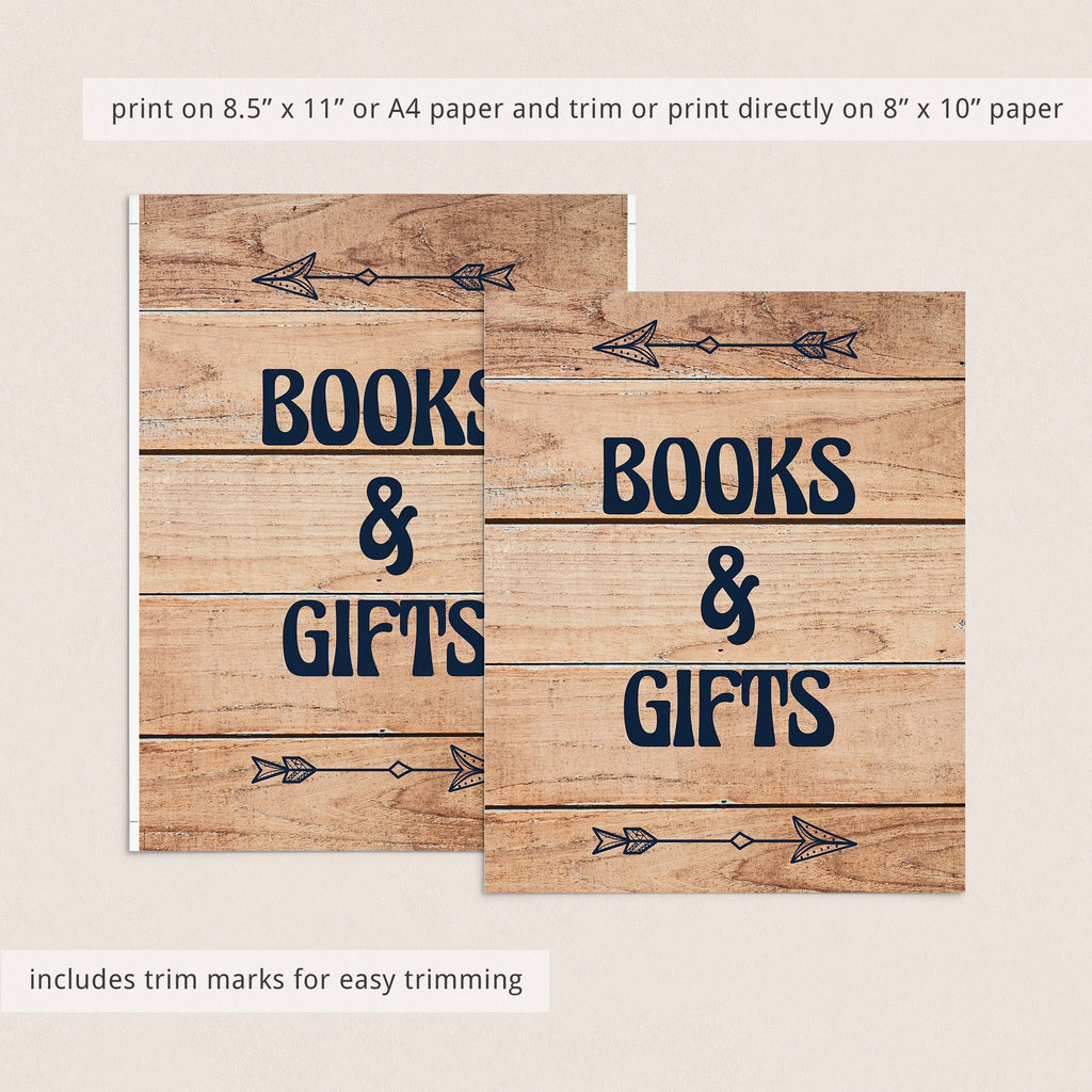 Books and gifts table decor for rustic baby shower download by LittleSizzle