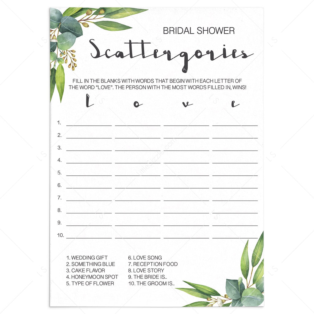 rustic chic bridal shower game scattergories by LittleSizzle