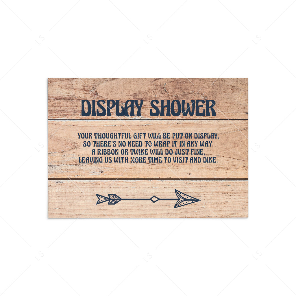 Rustic Display Shower Insert Card Unwrapped Gift by LittleSizzle