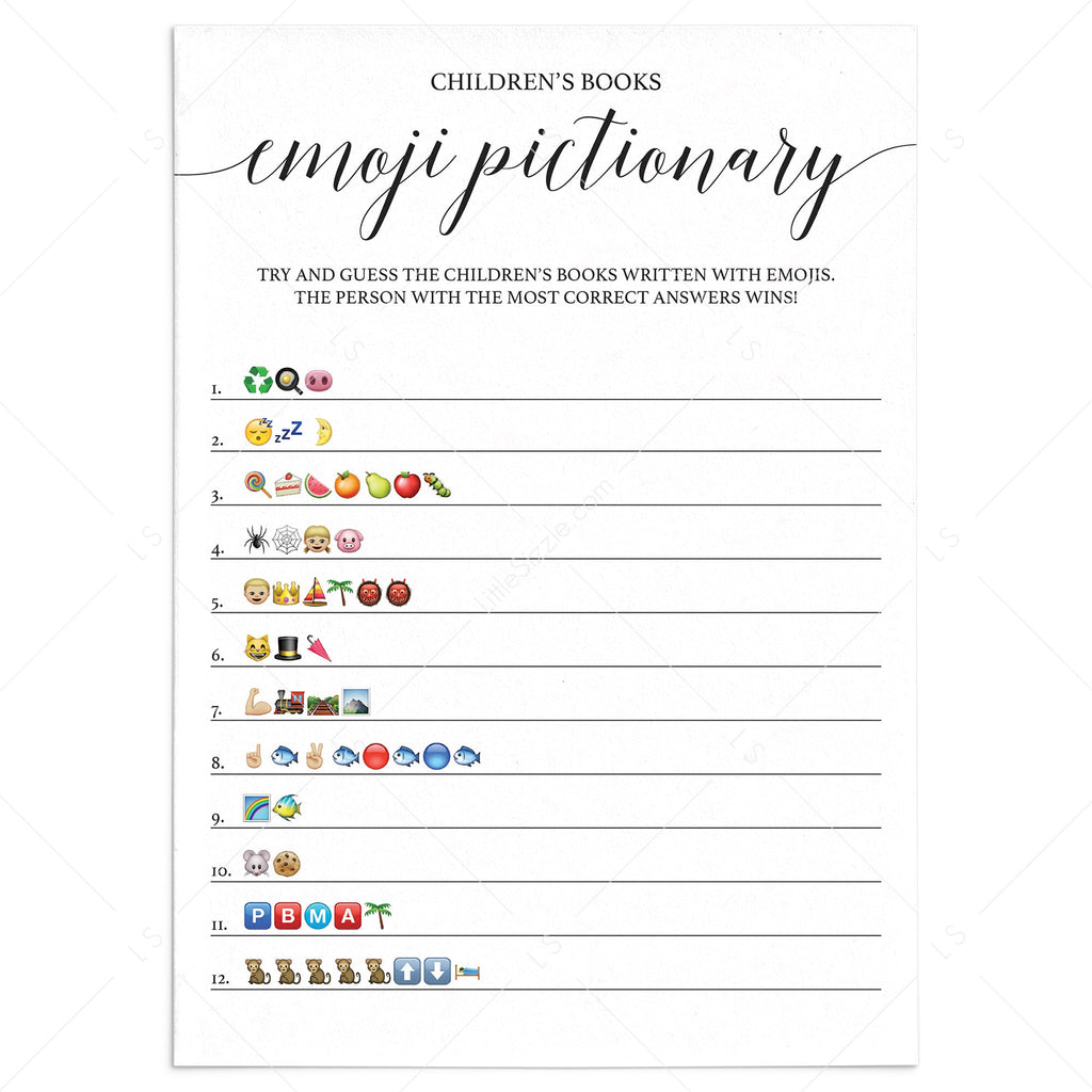 Baby shower emoji pictionary game printable by LittleSizzle