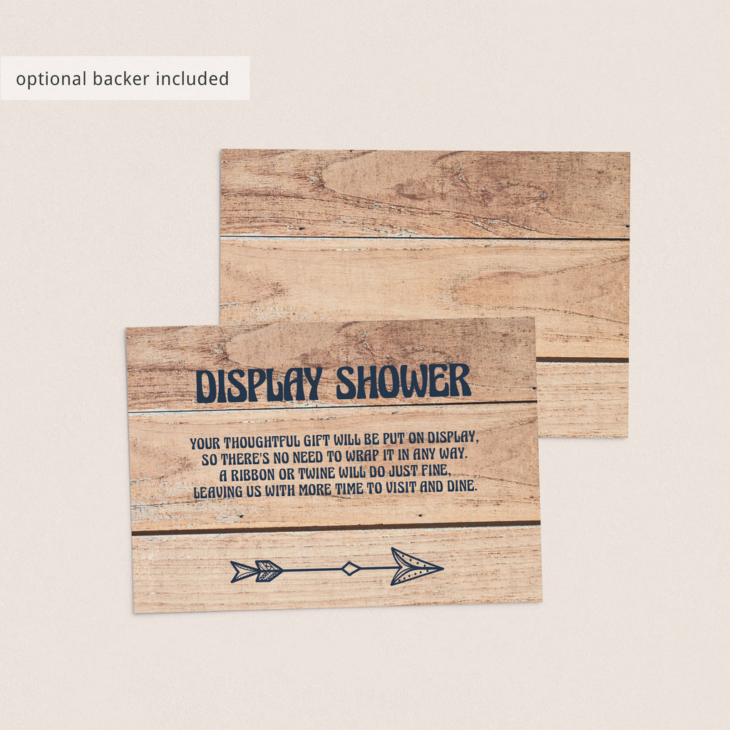 Rustic Display Shower Insert Card Unwrapped Gift