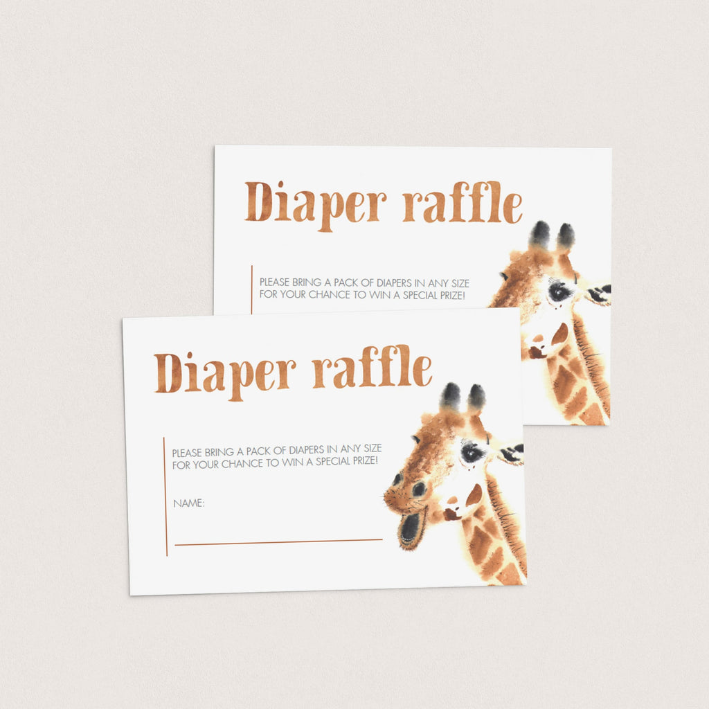 Printable Giraffe Baby Shower Diaper Raffle Card Template by LittleSizzle