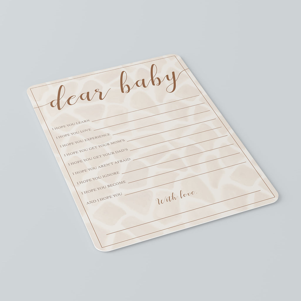 Safari Baby Shower Wishes for Baby Cards Printable