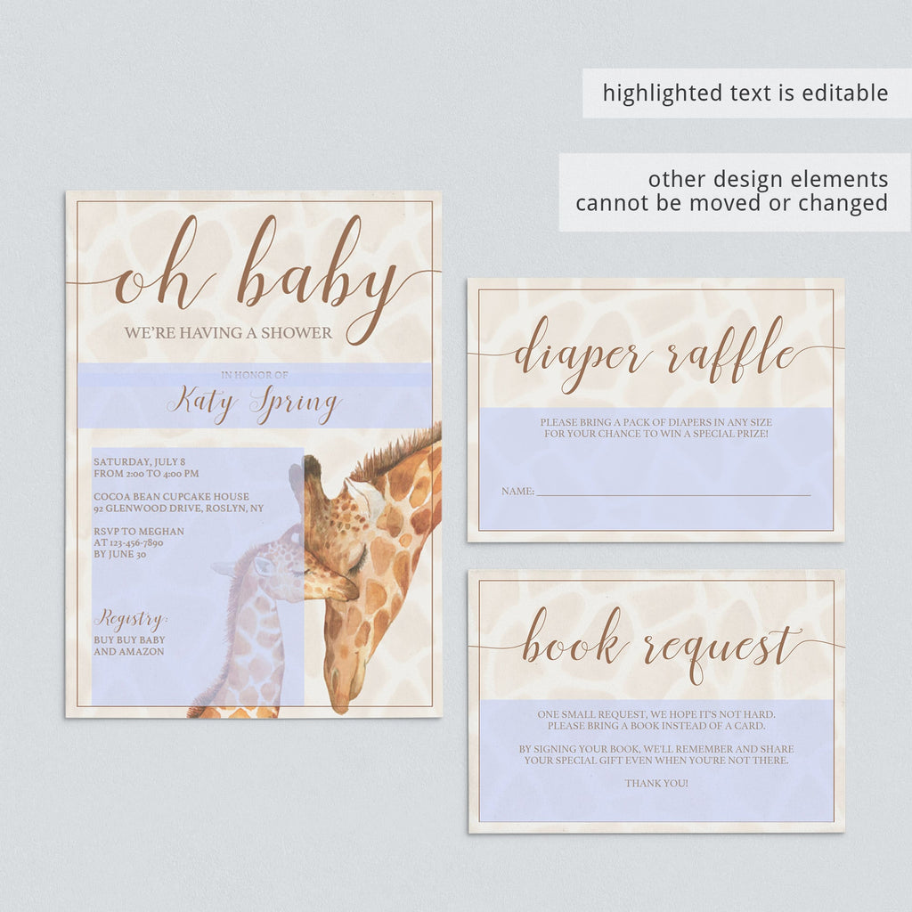 Editable templates for giraffe themed baby shower party by LittleSizzle