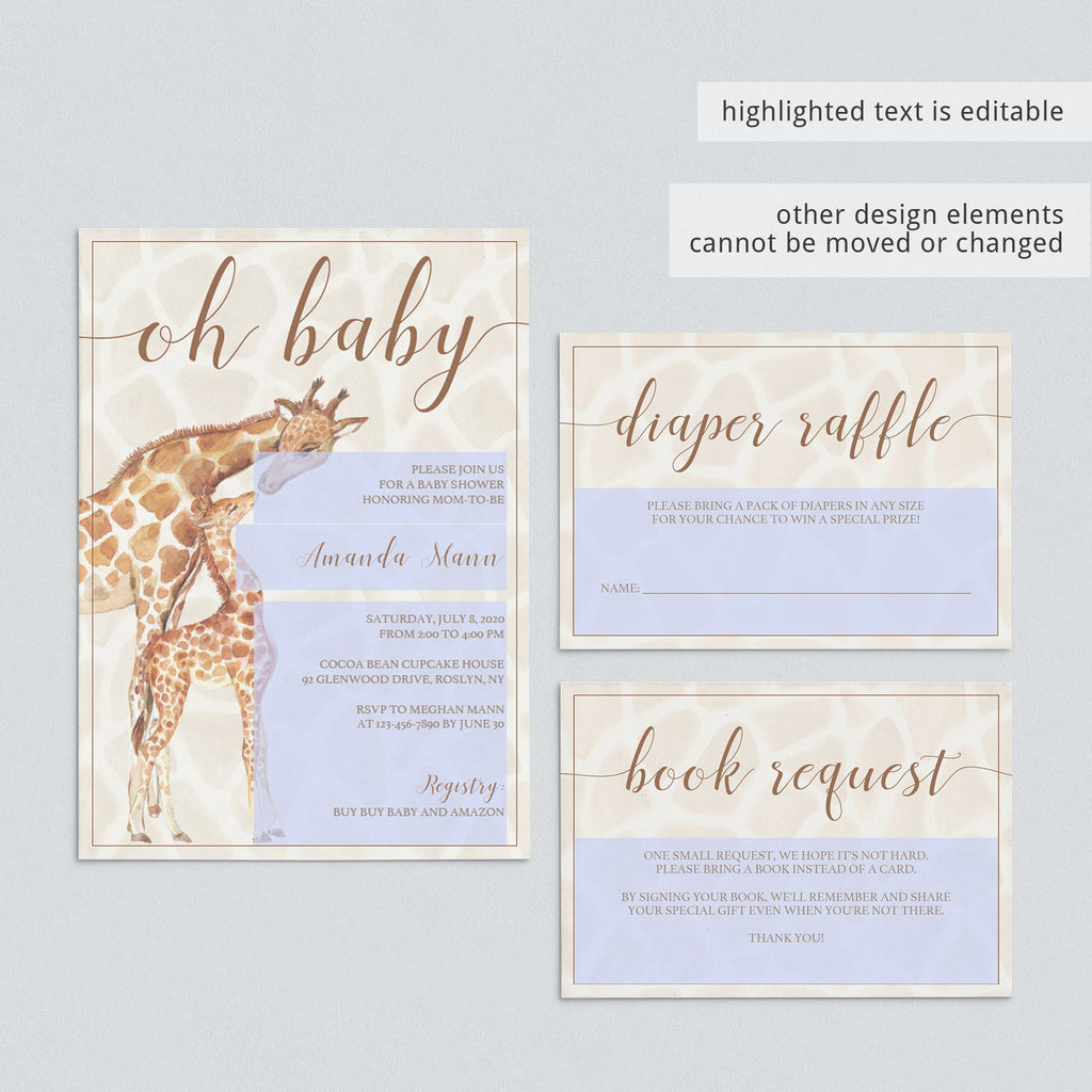 DIY jungle baby shower invitations and kit by LittleSizzle