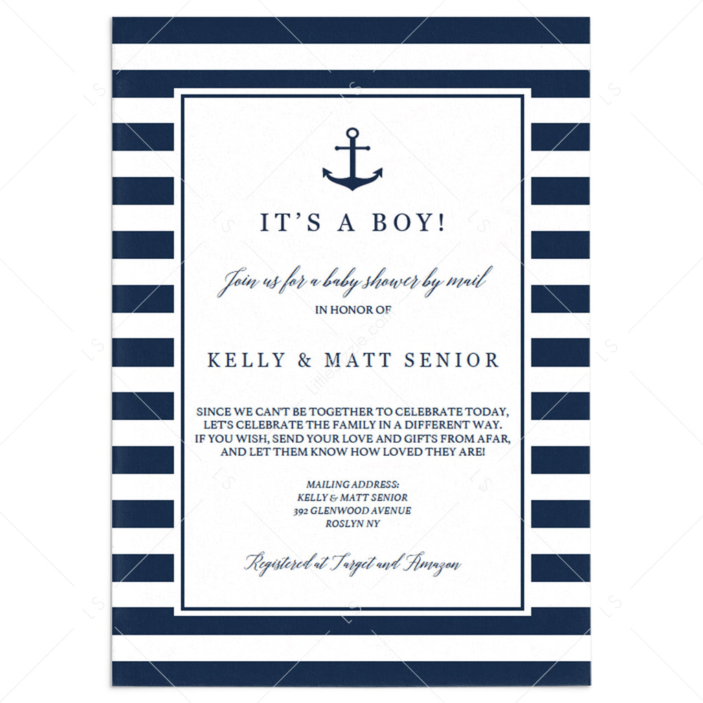 Boy Baby Shower by Mail Invitation Template Instant Download by LittleSizzle
