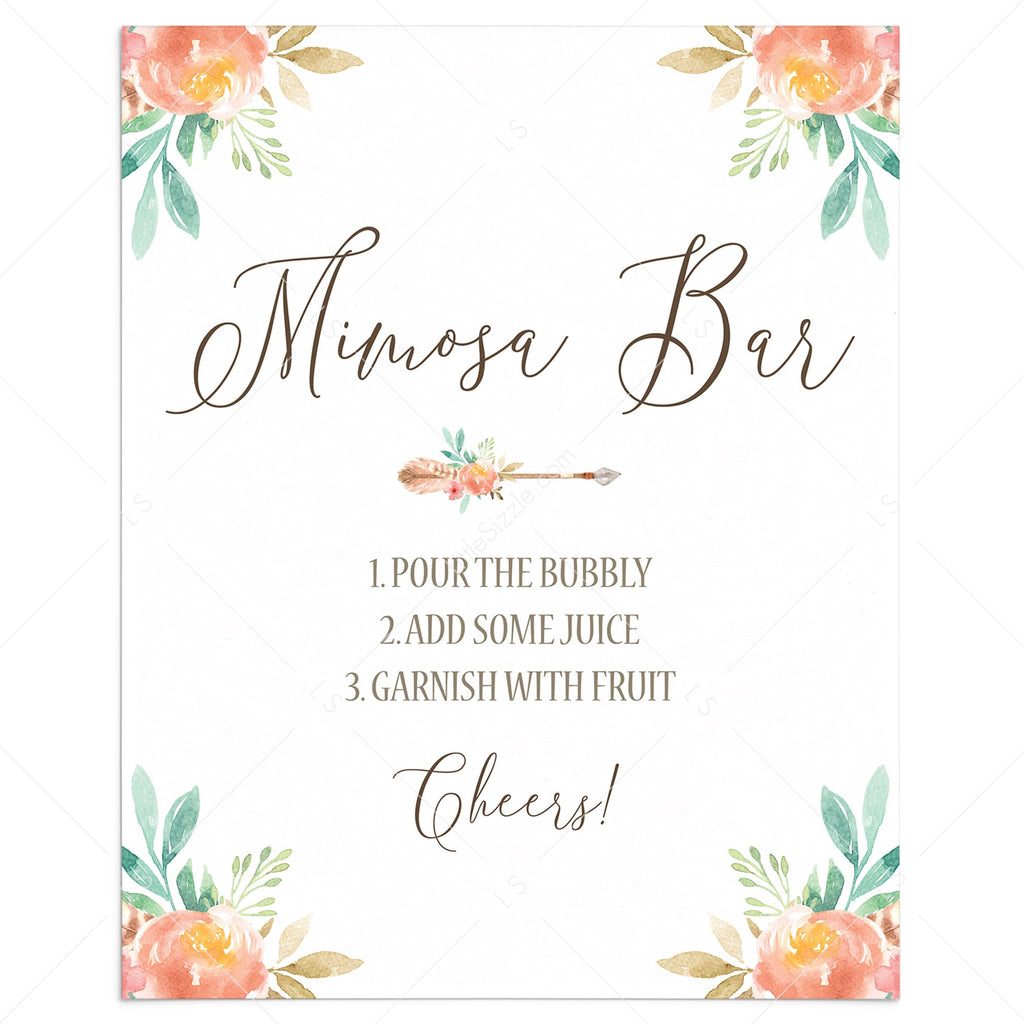 Pink Floral Mimosa Bar Sign Download by LittleSizzle