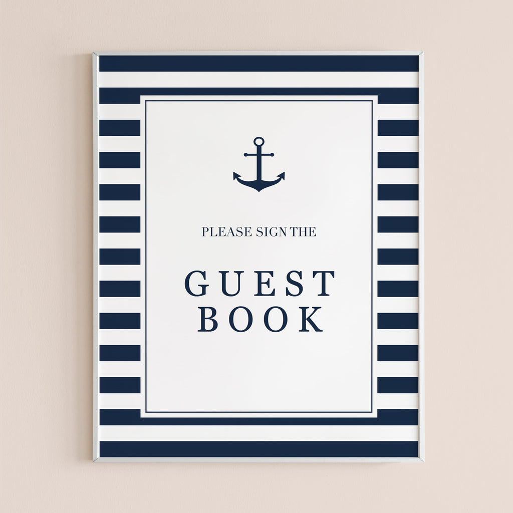 Blue and white guest book table sign instant download by LittleSizzle