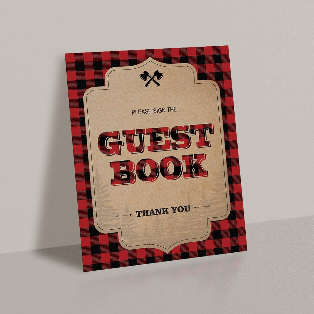 Download buffalo plaid party decorations guest book table top sign by LittleSizzle