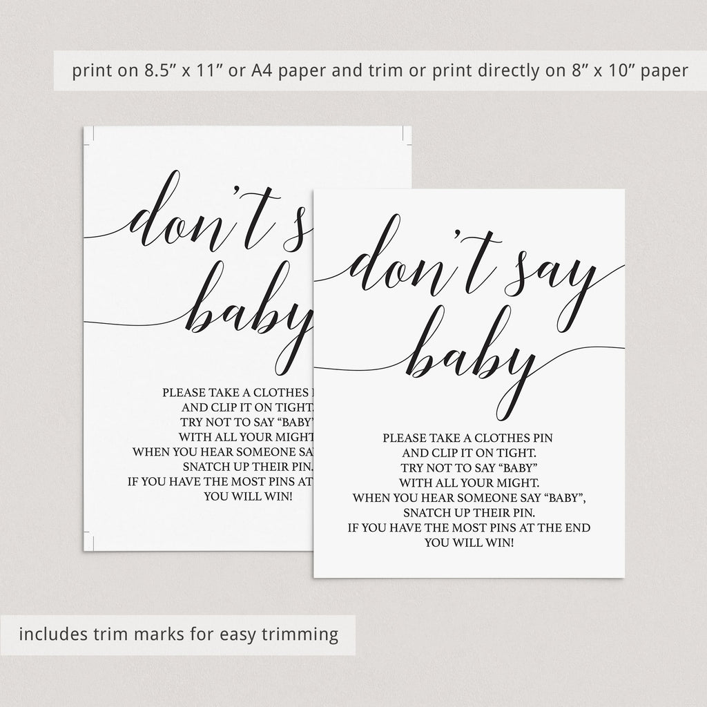 DIY baby shower games dont say baby by LittleSizzle