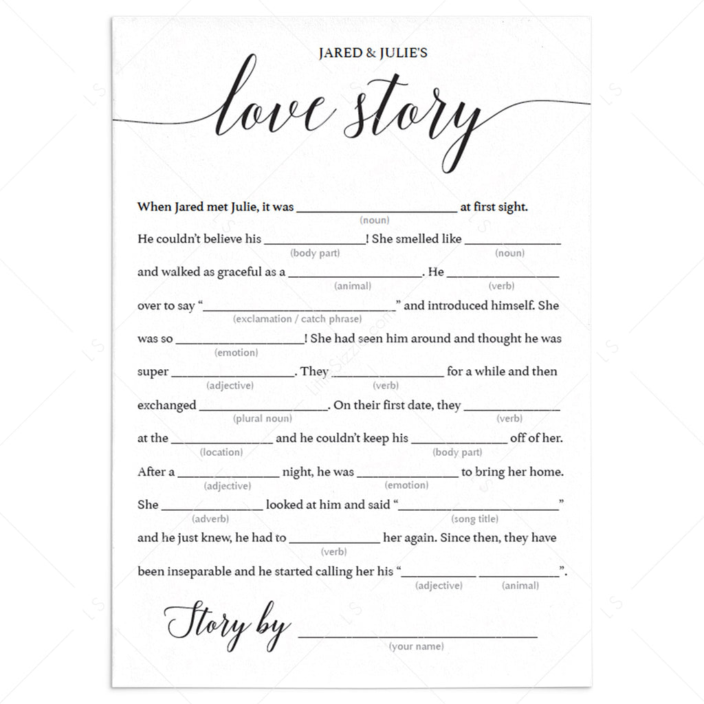 Love story mad libs bridal shower game template by LittleSizzle