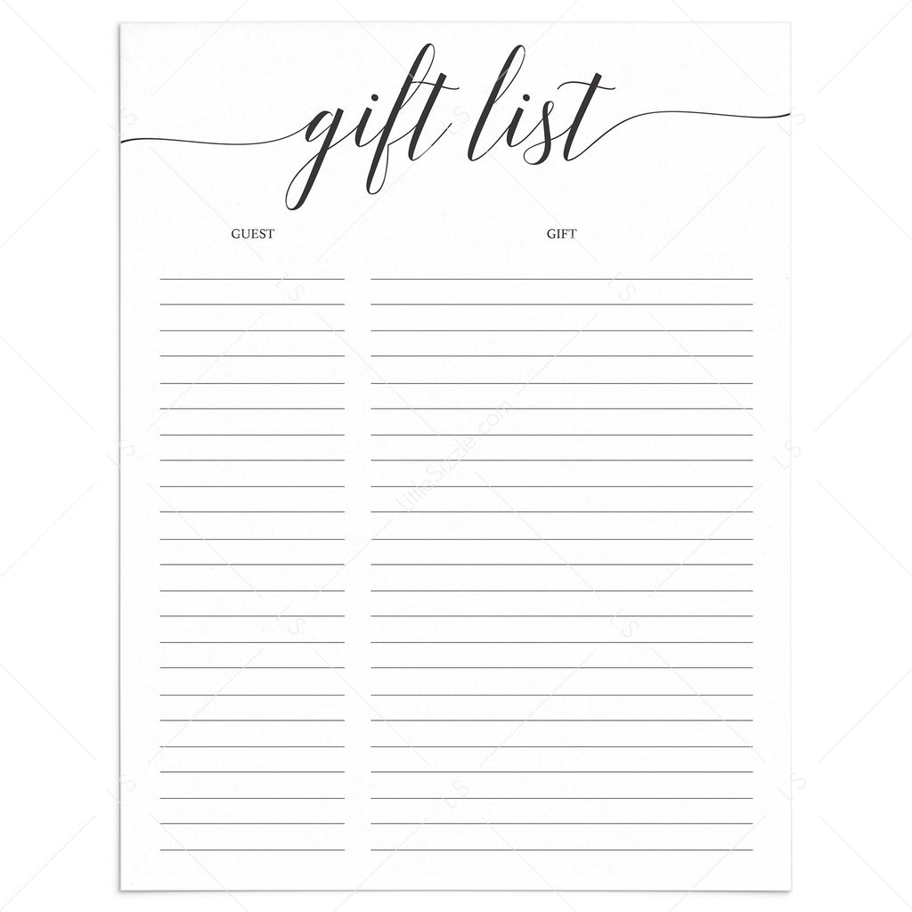 Simple Gift List Printable Calligraphy Font