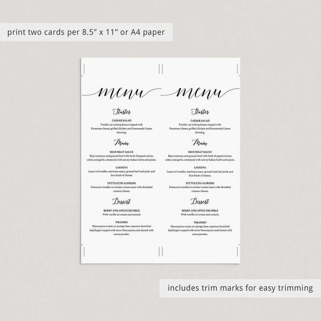 DIY Menu Template Black & White