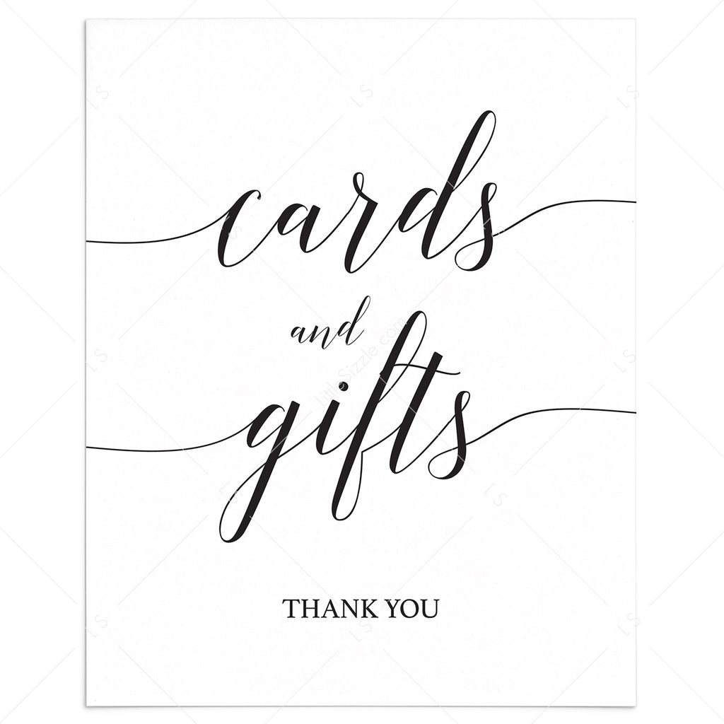 Printable Cards Gifts Sign With Calligraphy Font Instant Download Littlesizzle