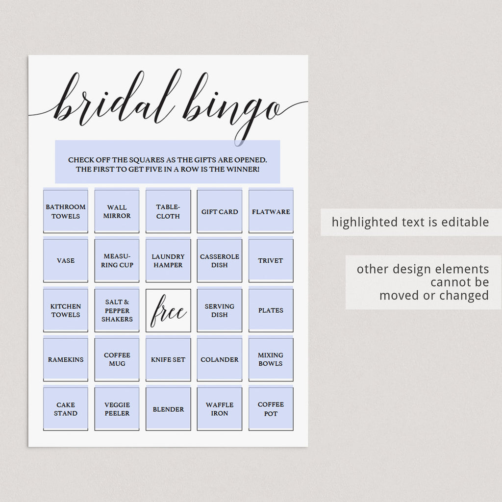 Create your onw bridal bingo cards template by LittleSizzle