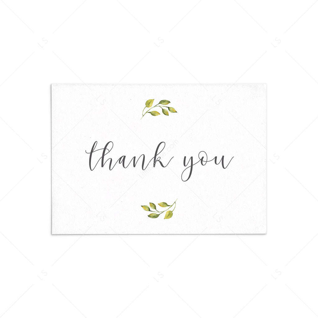 Printable thank you note cards with watercolor greenery by LittleSizzle