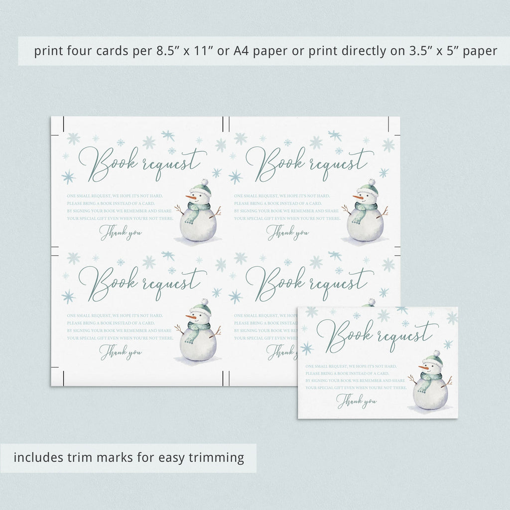 Snowmen baby shower book request card template by LittleSizzle