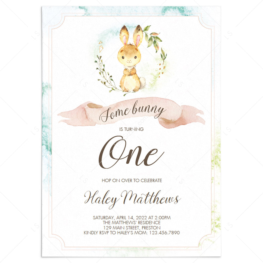 Some Bunny is Turning One Invitation Template by LittleSizzle