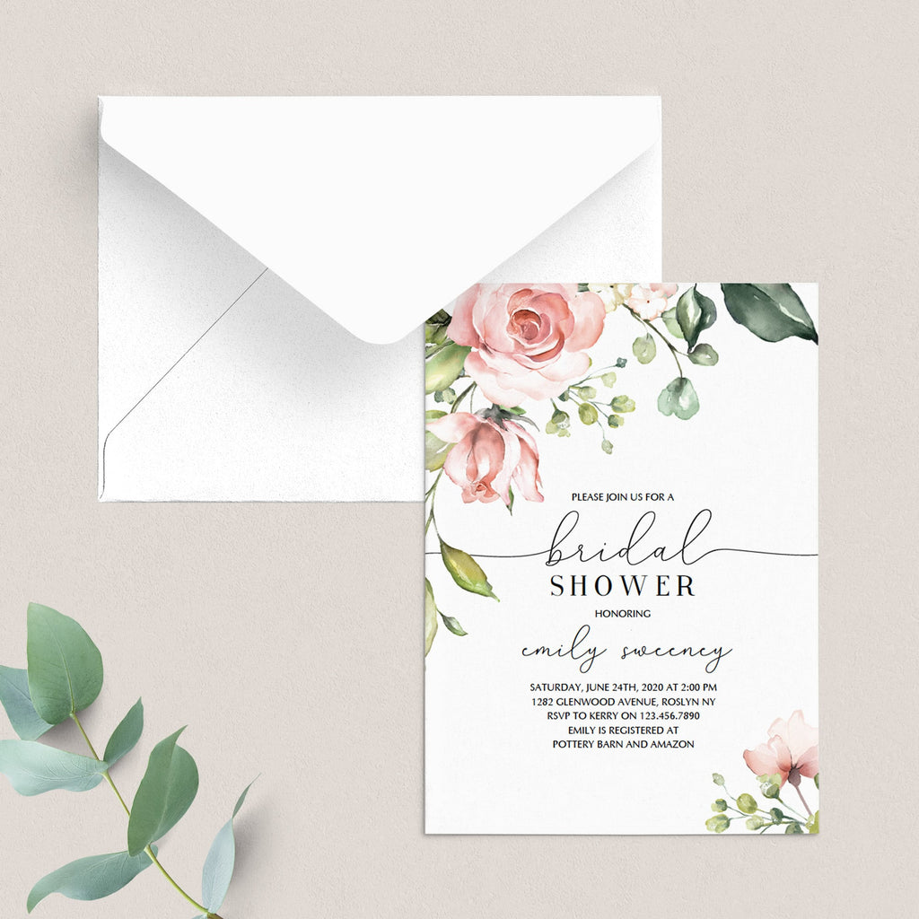 Blush bridal shower invitation template by LittleSizzle