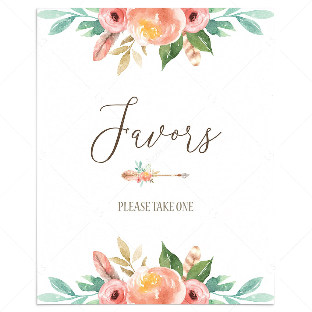 Bohemian Favors Table Sign Printable by LittleSizzle