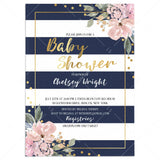 Pink, Gold and Navy Baby Shower Invitation with Florals, Confetti and Stripes by LittleSizzle