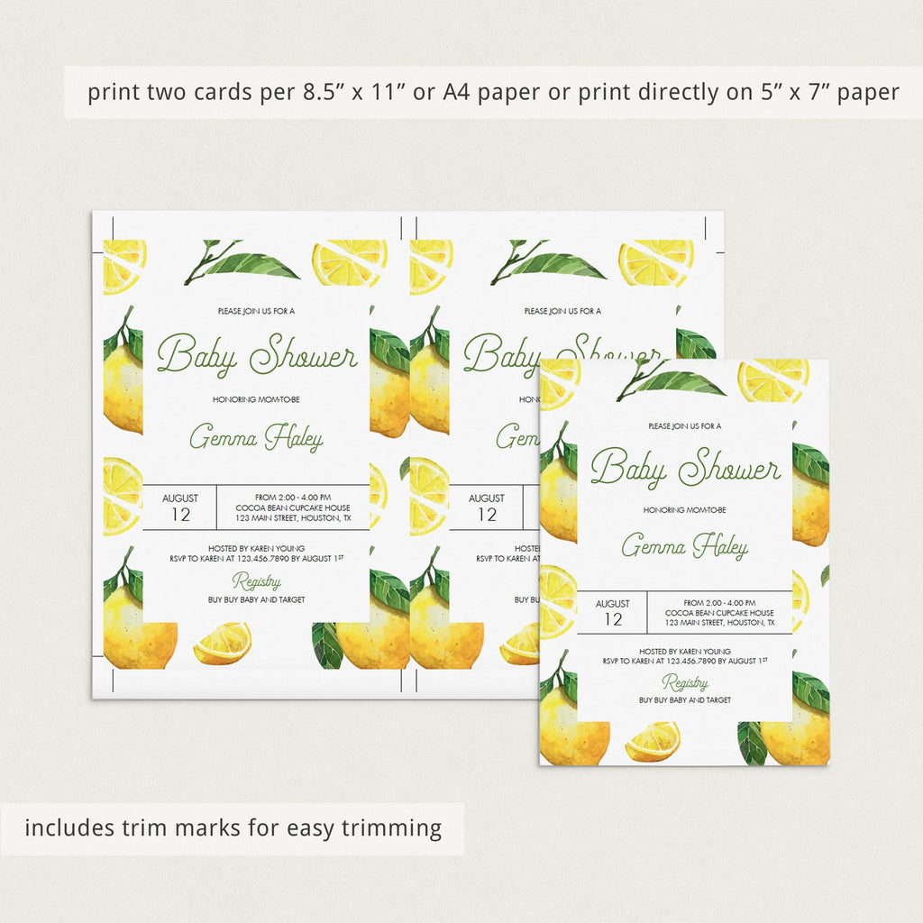 Summer Baby Shower Invitation Template with Lemons