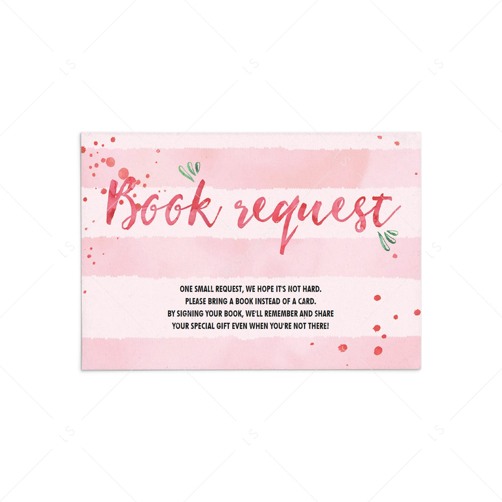 Watercolor pink baby book request cards by LittleSizzle