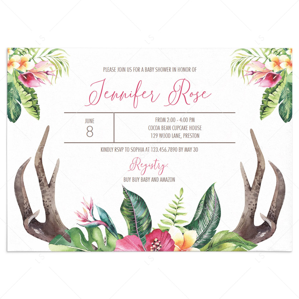 Bohemian girl baby shower invite template by LittleSizzle