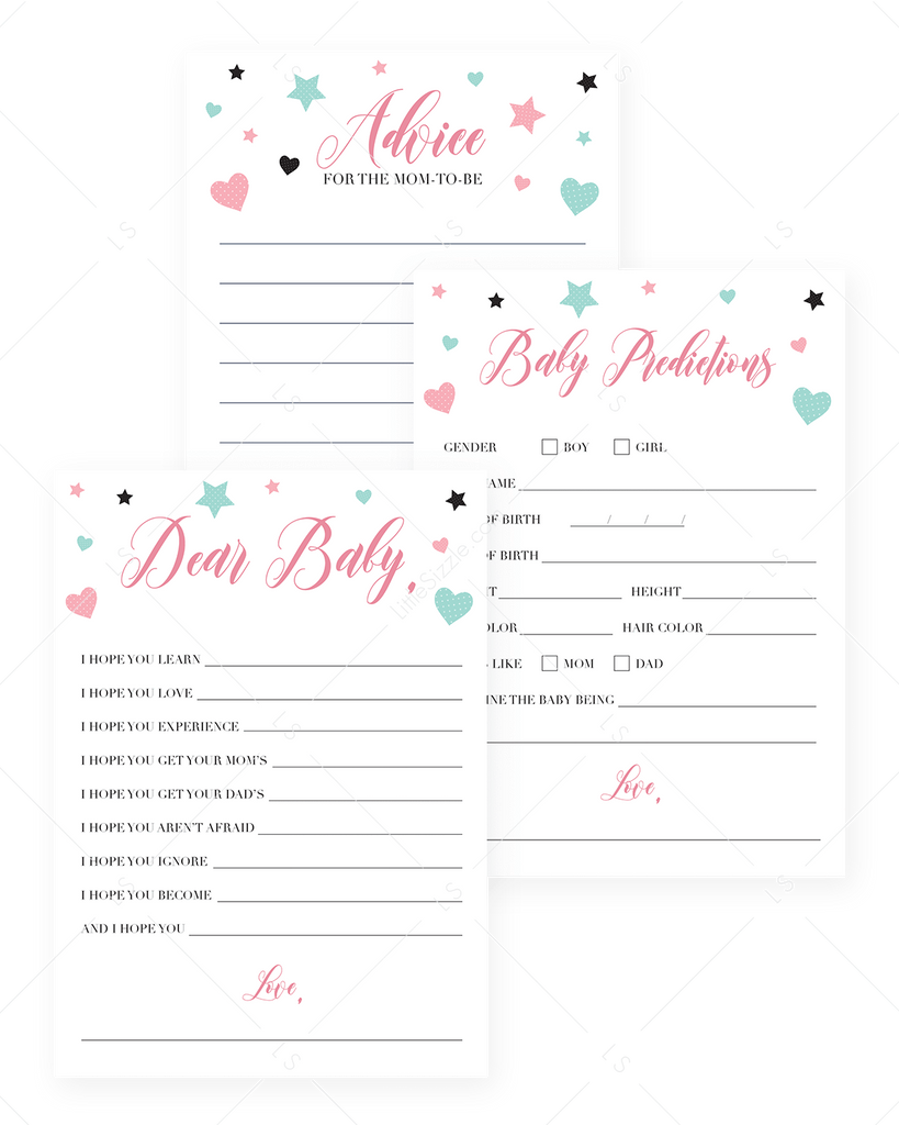 Baby girl shower games printables pink and mint by LittleSizzle
