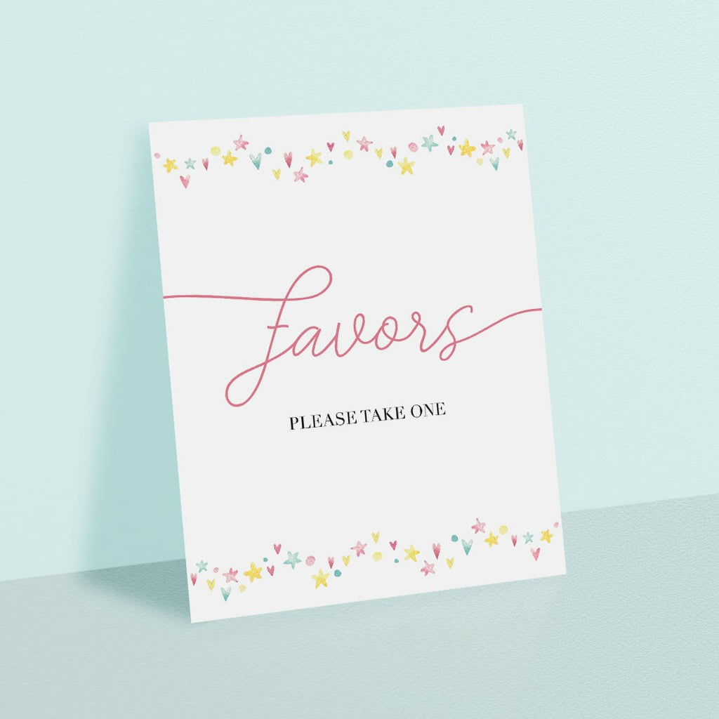 Printable Favors Sign for Pink Party