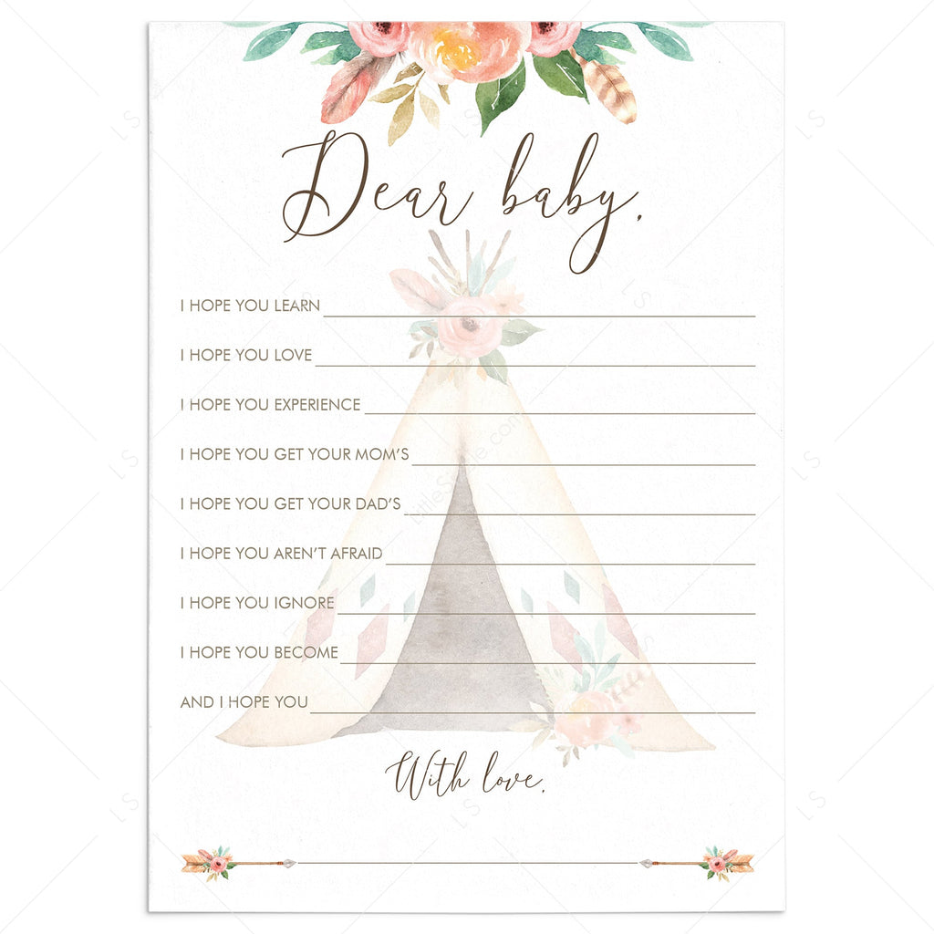 Tribal Baby Shower Wishes for Baby Card with Teepee by LittleSizzle