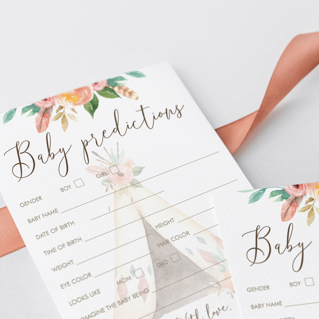 Baby Predictions Game for Tribal Theme Baby Shower