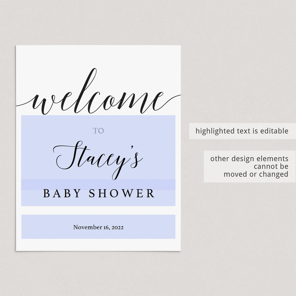 Editable Baby Shower Welcome Sign Template Calligraphy